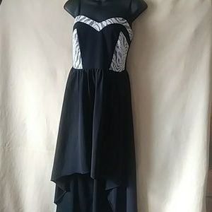 Mimi Chica black/white high-low sun dress-sz 8